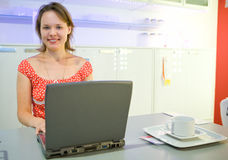 Young women with laptop Stock Photo