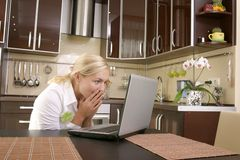 Young women with laptop Stock Photos