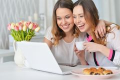 Young women looking at laptop Royalty Free Stock Photos