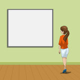 Young women looking on the picture vector Royalty Free Stock Images
