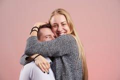 Young woman make big hug Royalty Free Stock Image