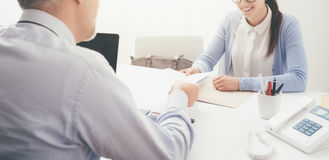 Young woman having a job interview stock image