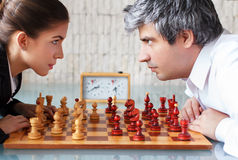 Woman and man competition Stock Photography