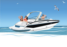 Young women and men resting on yacht, vector illustration Stock Photography