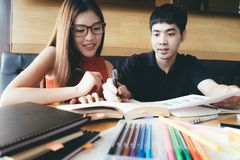 Education concept. Tutor books with friends. royalty free stock photography