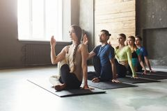 Young women and men in yoga class, relax meditation pose stock photography