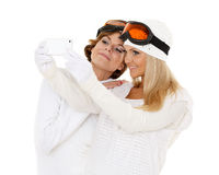 Young  women with a mobile phone. Royalty Free Stock Images