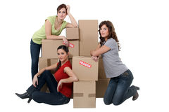 Young women moving out Stock Photos