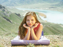 Young women at nature Stock Images