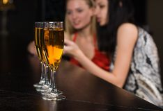 Young women in night club Royalty Free Stock Photography