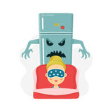 Young women nightmare. scary refrigerator and sleeping girl. vector flat cartoon character illustration.  on white Royalty Free Stock Photos