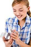 Young women open a heart symbol gift box royalty free stock photo