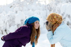 Young women outdoor taking photos Royalty Free Stock Image