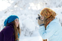 Young women outdoor taking photos Stock Photo