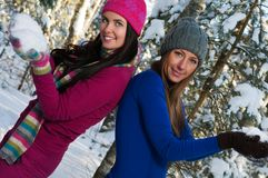 Young women outdoor in winter Stock Image
