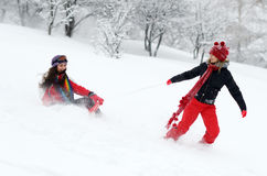 Young women outdoor in winter Royalty Free Stock Photo