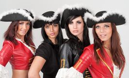 Young women in pirate costumes Stock Photo