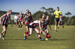 Girls playing Australian Rules Football (AFL) Royalty Free Stock Photography