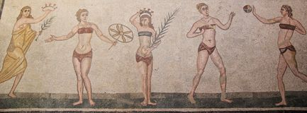Young women playing games in Roman mosaic Stock Image