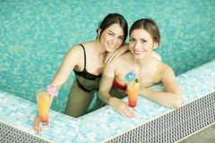 Young women in the pool Royalty Free Stock Photography