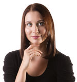 Young women portrait. Pretty young woman with propped chin, isolated on white Stock Image