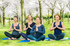 Young women practising Lotus Pose Royalty Free Stock Image