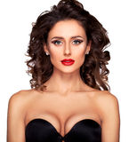 Young women with professional makeup and hairstyle in black luxu. Photo of beautiful nude fashion female model with professional makeup and hairstyle on white Stock Photos
