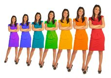 Young women with rainbow color dress collage