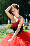 Young women in Red dress. Beautiful young woman in Red dress Royalty Free Stock Photos