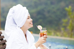 Young Women relaxing and drinking tea in spa salon Royalty Free Stock Photo
