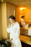 Young women relaxing in sauna Stock Photo