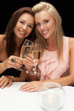 Young women in restaurant stock image