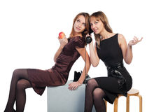 Young women with a retro phone Royalty Free Stock Photo