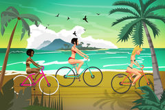 Young women rides bike on summer beach at sunset. Vector flat il Royalty Free Stock Image