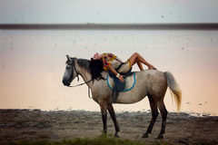 Young women riding a horse Royalty Free Stock Photography