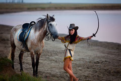 Young women riding a horse Stock Photo