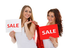 Young  women with sale sign. Stock Photography