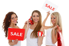 Young  women with sale sign. Stock Photo