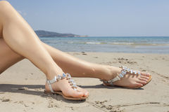 Free Young Women Sandals Stock Image - 55562591