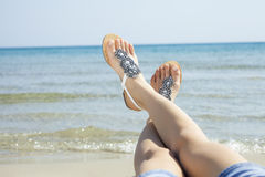 Young women sandals Royalty Free Stock Photos