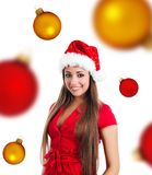 Young women in santa claus hat Royalty Free Stock Photography