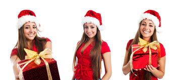 Young women in santa claus hat photos Stock Photos