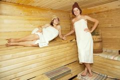 Young women  at sauna Stock Photo
