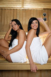 Young Women in sauna. Photo of two young women in sauna royalty free stock image