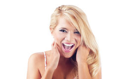 Young women screaming Stock Images