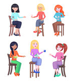Young Women Seating on Chairs Flat Vector Set Stock Photo