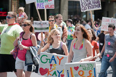 Young women at Seattle Gay Pride Parade Royalty Free Stock Photography