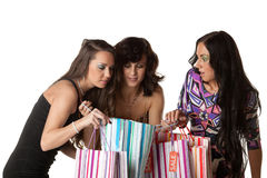 Young  women with shopping bags. Royalty Free Stock Photography