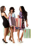 Young  women with shopping bags. Young happy women with shopping bags  on a white background. Sale Stock Image