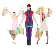 Young women with shopping bags Stock Photography
